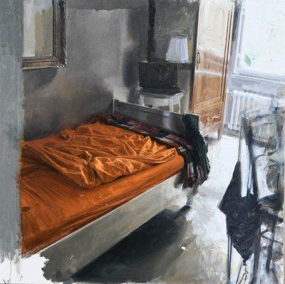 Interno in arancio e controluce - Olio su tela 100x100cm - anno 2016