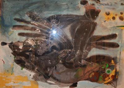 Denis Riva - Accompagnatore n°2 - olio su carta cm 71X100 - anno 2009