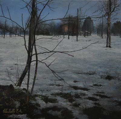 Ernesto Ubertiello - Bianco e nero - olio su tela cm 40X60 - anno 2015