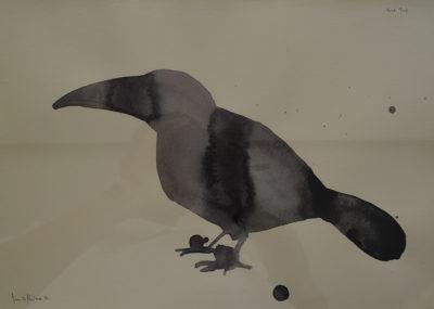 Denis Riva - Bird trip 2 - olio su carta cm 25X35 - anno 2012