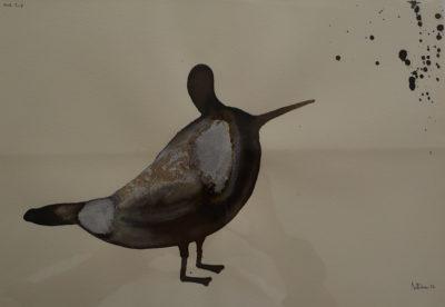 Denis Riva - Bird trip 3 - olio su carta cm 25x35 - anno 2012