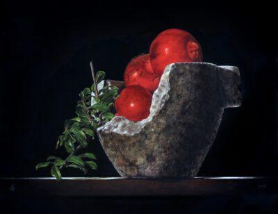 Ottorino De Lucchi - Ultimi di settembre - tecnica drybrush su tavola incamottata - cm 40 x 50 - anno 2015
