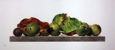 Ottorino De Lucchi - Metà ottobre - tecnica drybrush su tavola incamottata - cm 22 x 51 - anno 2015