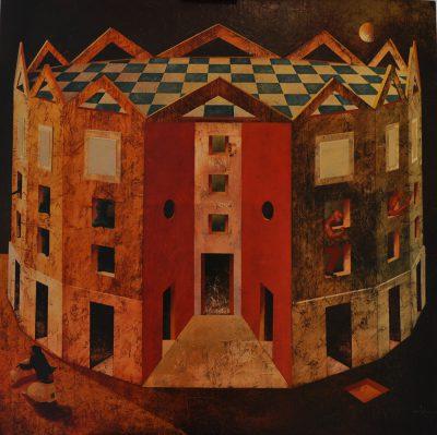 Angelo Palazzini - Condominio Speranza - olio su tela - cm90x90 - Anno 2012