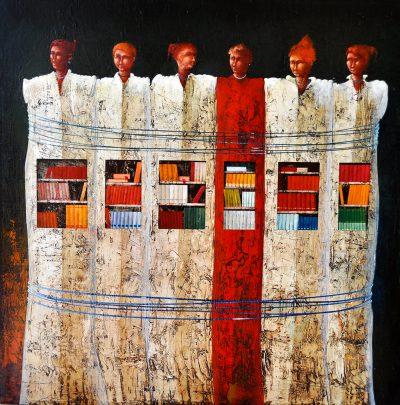 Angelo Palazzini - Unite nella cultura - olio su tela cm80x80 - Anno 2015