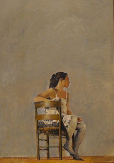 Giorgio Scalco - Figura seduta - olio su tela - cm100x70 - anno 1988
