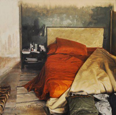 Nicola Nannini - Interno in arancio e luce frontale diffusa - olio su tela - cm100x100 - anno 2016