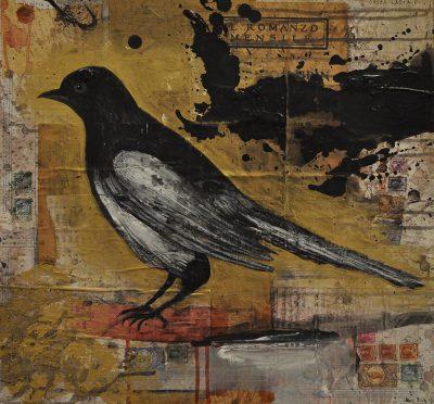 Denis Riva - Gazza ladra - acrilico pastello penna e carta su legno - cm48.5x52 - anno 2009