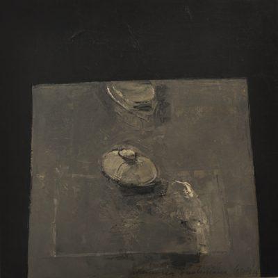 Alfredo Casali - Memoria quotidiana - olio su tela su tavola - cm50x50 - anno 2015