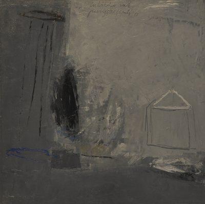 Alfredo Casali - In bilico nel paesaggio - olio su tela - cm40x40 - anno 2011