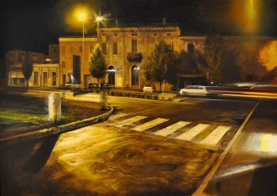 Nicola Nannini - Notte con accenno dinamico - olio su tavola incamottata - cm50x70 - anno 2008