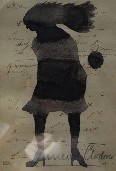 Denis Riva - Donna gigante - olio su carta cm 20X13,5 - anno 2015