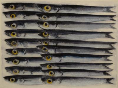 Lorenzo Lazzari - Fish & fish - tecnica mista resina su tela cm 18X24 - anno 2016
