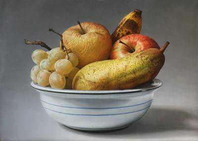 Gioachino Passini - Frutta in una ciotola raccolta - acrilico su tela cm 100x140 - anno 2012