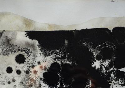Denis Riva - Habitat n°2 - olio su carta cm 12X17,5 - anno 2016