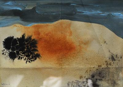 Denis Riva - Habitat - olio su carta cm 12X17,5 - anno 2016
