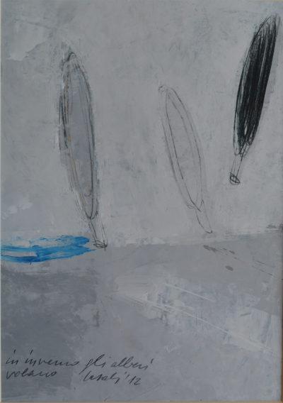 Alfredo Casali - In inverno gli alberi volano - olio su carta - cm 35x25 - anno 2012