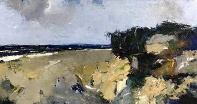 Ivo Stazio - La libecciata - olio su tela - cm 110 x 55 - anno 2018