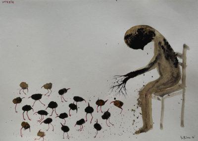 Denis Riva - Offerta - olio su carta cm 12,5X17,5 - anno 2015