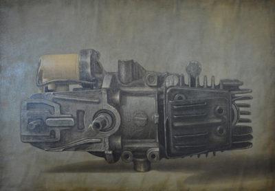Gioachino Passini - Oggetto meccanico - olio su tela cm 70X100,- anno 2003