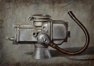 Gioachino Passini - Percorso meccanico - acrilico su tela cm 70x100 - anno 2003