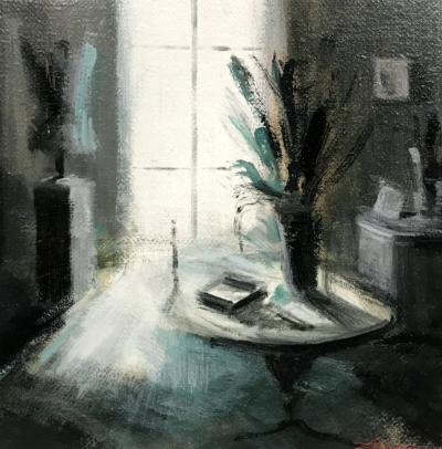 Tina Sgro - Piccolo contro luce - acrilico su tavola - cm 31 x 31 - anno 2019