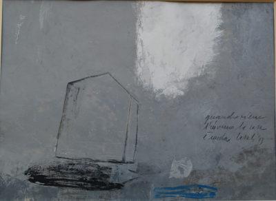 Alfredo Casali - Quando viene l'inverno la casa è nuda - olio su carta cm25x35 - Anno 2013