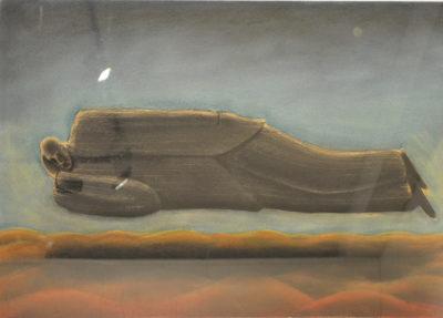 Sergio Zanni - Sognatore - tecnica mista su carta cm 65X95,5, - anno 2001
