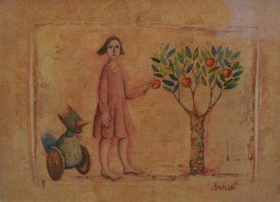 Claudio Benghi - Una mela innocente - tecnica mista cm 17X23 - anno 2009