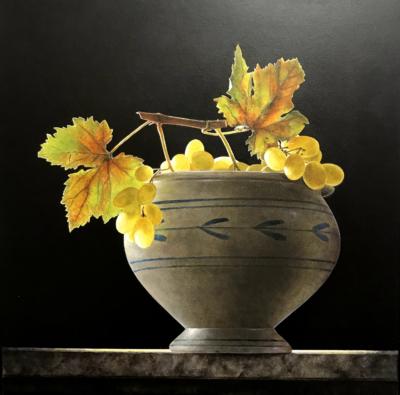 Ottorino De Lucchi - Vendemmia - tecnica drybrush su tavola incamottata - cm 36,5 x 36,5 - anno 2015