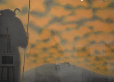 Sergio Zanni - Viandante - tecnica mista su carta cm 65X92 - anno 2008