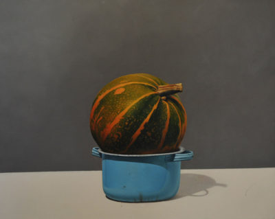 Emilio Mattioli - Zucca invasata - olio su tavola cm 40X50 - anno 2013
