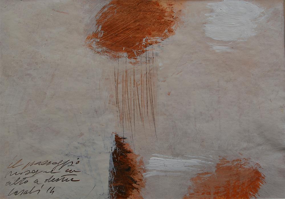 Alfredo Casali - Il paesaggio in alto a destra - olio su carta cm 25x35 - anno 2014